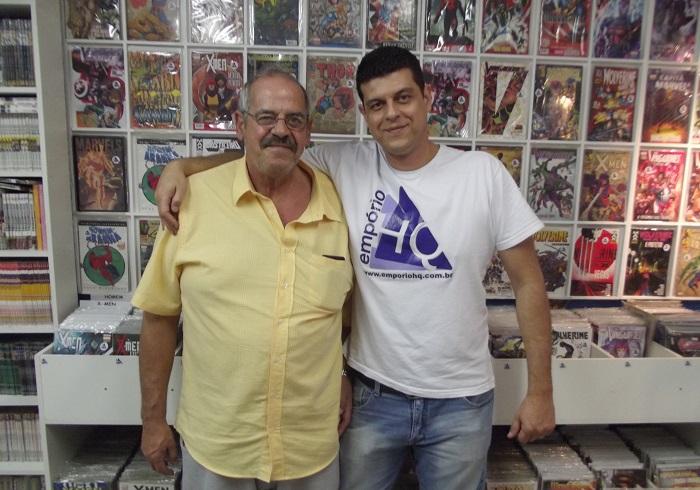 Marco Antônio Pescuma e o filho, Marcio, comemoram o crescimento da Empório HQ. (Foto: Henrique Almeida)