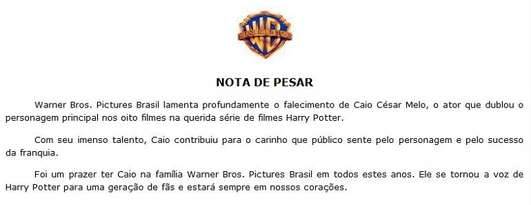 Os estúdios foram responsáveis pela produção de Harry Potter.