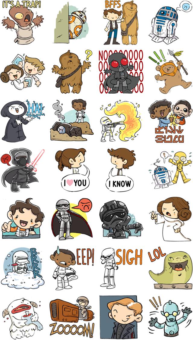 Por enquanto, são 24 emojis representando os filmes Star Wars. (Foto: Facebook)
