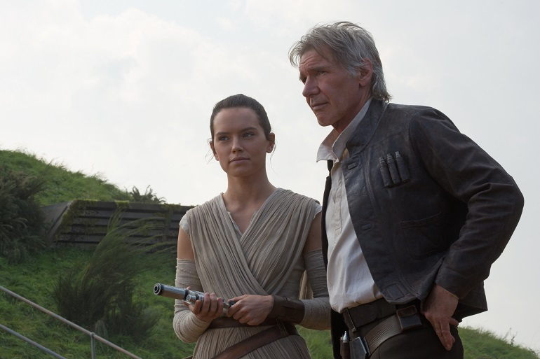 Star Wars: The Force Awakens L to R: Rey (Daisy Ridley) and Han Solo (Harrison Ford) Photo Credit: David James ©Lucasfilm 2015