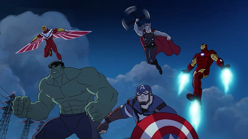 """MARVEL'S AVENGERS: ULTRON REVOLUTION - """"Under Siege"""" - Hawkeye must defend the Avengers Tower from Baron Zemo and the Masters of Evil. This episode of """"Marvel's Avengers: Ultron Revolution"""" airs Sunday, April 03 (8:30 - 9:00 A.M. EDT) on Disney XD. (Marvel) FALCON, HULK, CAPTAIN AMERICA, THOR, IRON MAN"""