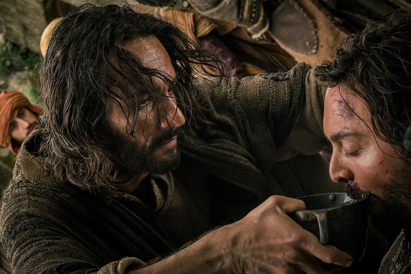 Rodrigo Santoro plays Jesus and Jack Huston plays Judah Ben-Hur in Ben-Hur from Paramount Pictures and Metro-Goldwyn-Mayer Pictures.