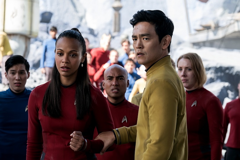Left to right: Zoe Saldana plays Uhura and John Cho plays Sulu in Star Trek Beyond from Paramount Pictures, Skydance, Bad Robot, Sneaky Shark and Perfect Storm Entertainment