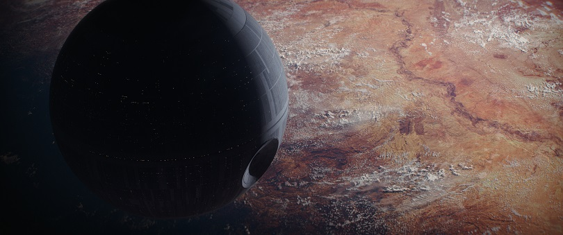 Em Rogue One, a poderosa Estrela da Morte se mostra tão impressionante quanto em 1977. (Foto: Lucasfilm)