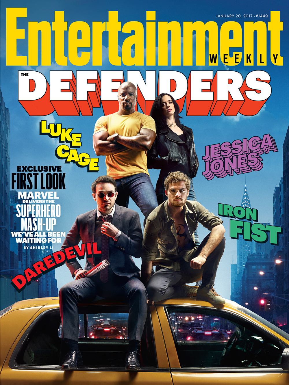A capa da Entertainment Weekly remete aos quadrinhos do grupo de heróis conhecido como Os Defensores. (Foto: Entertainment Weekly)