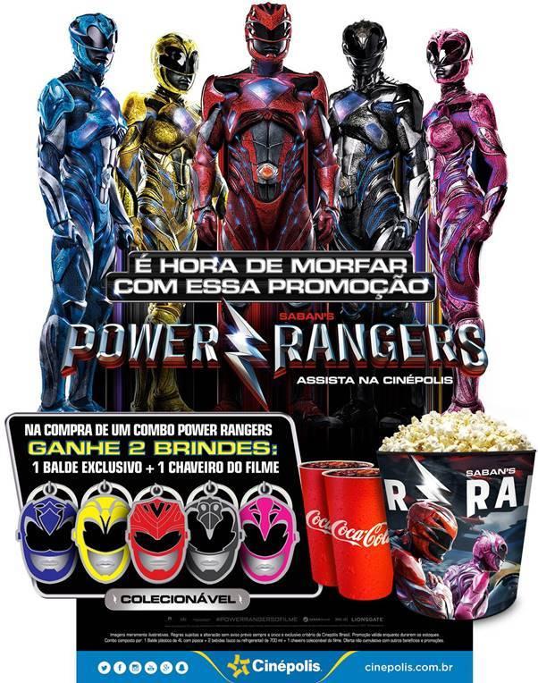 Além do balde com os personagens do filme, é possível colecionar os chaveiros com os capacetes dos Power Rangers! (Foto: Cinépolis)